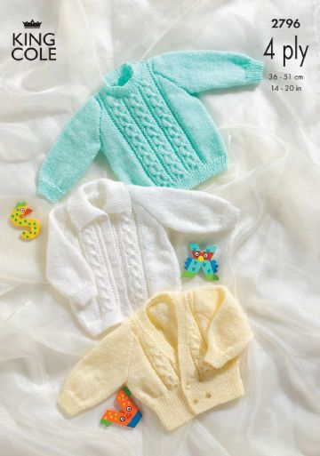 Sweater, Jacket and Cardigan Baby Knitting Pattern - King Cole 2796